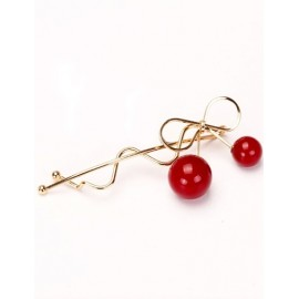 Endearing Red Cherry Design Hair Clip