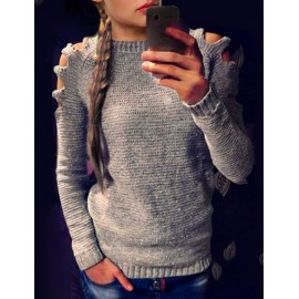Classy Cut-Out Shoulder Crew Neck Pull Over Sweater in Pure Color Size:S-XL