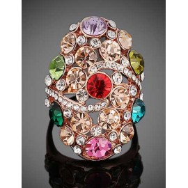 Spangle Colorful Rhinestone Detail Rings with Hollow-Out