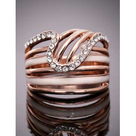 Styling Rhinestone Detail Hollow-Out Stripe Ring