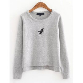 Basic Round Neck Asymmetric Sweater in Embroidery Detail Size:S-L