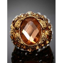 Attractive Rivet Detail Gem Ornament Ring with Cutwork