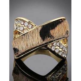 Punk Rhinestone Detail Leopard Printed Ring with X Shape