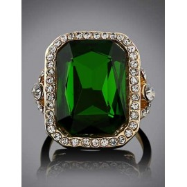 Luxurious Rhinestone Overall Gem Ornament Ring in Green