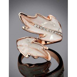 Romantic Rhinestone Detail Leaf Openwork Ring with Plated
