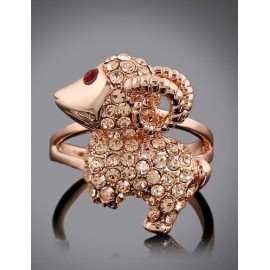 Endearing Rhinestone Overall Goat Shape Ring in Gold
