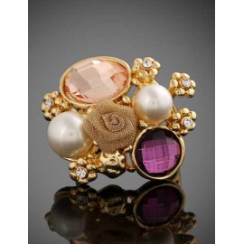 Blooming 3D Floral Cutwork Gem Ornament Ring with Beads