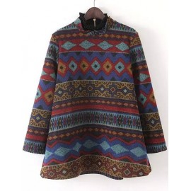 Vintage Print Wool A-Line Sweatshirt in Stand Collar Size:S-L