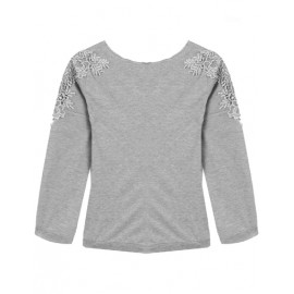 Sweet Lace Panel Single Breasted Back Tee in Pure Color