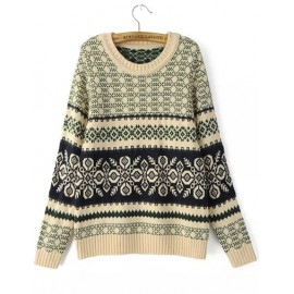 Basic Round Neck Loose Sweater with Jacquard Trim Size:S-M