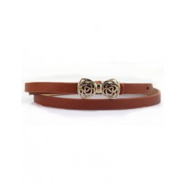 Dolce Smooth Buckle Belt with Hollowed Bowknot For Women