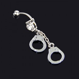 Handcuffs Crystal Rhinestone Navel Belly Button Barbell Rings Body Piercing