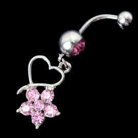 1 Pcs Flower Rhinestone Heart Navel Belly Button Barbell Ring Body Piercing Dangle Crystal