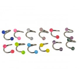 20PCS 12 Colours New Titanium Twist Spiral Belly Ring Navel Colorful