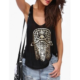 Cool Gilding Print Loose Tank Top with Scoop Neck