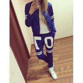 Sportive Number and Stripe Hoodie and Sweat Pants in Two Tone