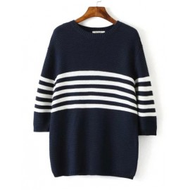Loose Longline Stripe Sweater with Round Neck Size:S-L