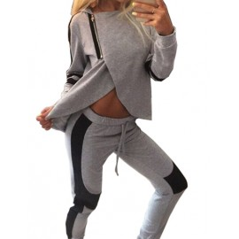 Styling Hooded Slanted Zip Hoodie and Sweat Pants in Two Tone