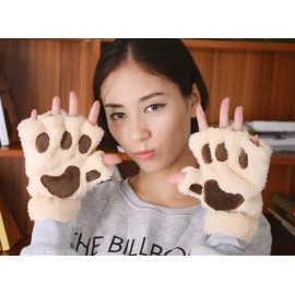 Women's Fluffy Bear/Cat Plush Paw/Claw Glove-Novelty Halloween Soft Toweling Lady's Half Covered Gloves