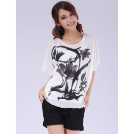 Ruffle Sleeve Loose Fit Top in Washed Painting Print