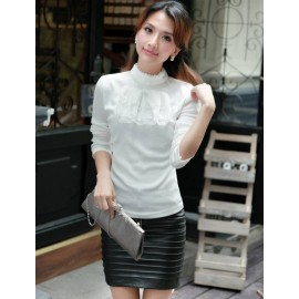 Elegant Frilled Bowknot Trim T-Shirt in Pure Color