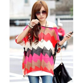 Fashion Batwing Sleeve Waved Printed Top in Loose Fit