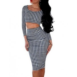 Night Out Houndstooth Printed Cropped Tee and Bodycon Skirt