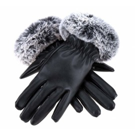 Fashion Women Gloves Autumn Winter Warm Synthetic Leather Driving Gloves With Fur