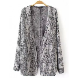 Special Jacquard Trim Knit Cardigan with Long Sleeve Size:M-L