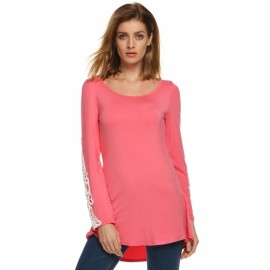 Zeagoo Women Casual O-Neck Lace Patchwork Long Sleeve Slim Stretch Blouse Tops