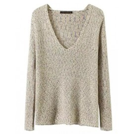 Cute Deep V-Neck Multicolor Sweater with Long Sleeve Size:S-L