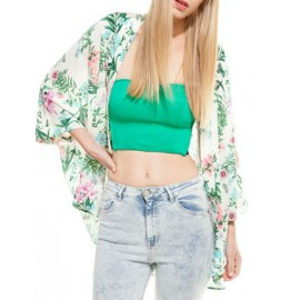 Leisure Fold-Over Collar Floral Printed Kimono with Wild Sleeve