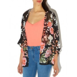 Romantic Floral Printed Sheer Chiffon Kimono with Open Front
