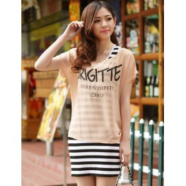 Fashionable Contrast Color Tank Dress and Chiffon Top For Women Dress M L