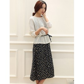 Refined Batwing Sleeve Loose Top and Dress in Dot Printed For Women M-XL