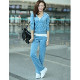 Snug Kangaroo Pocket Hoodie and Pants in Pure Color For Women M-XL