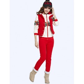 Stylish Pocket Trim Vest and Hoodie and Pants S-XL