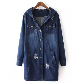Casual Distressed Detail Longline Denim Jacket with Hood Size:M-L