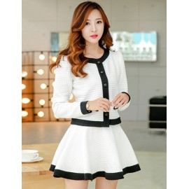 Fashion Splicing Color Block Jacket and Skirt S-XL