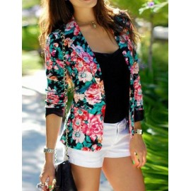 Romantic Floral Printed Lapel Collar Blazer with Long Sleeve