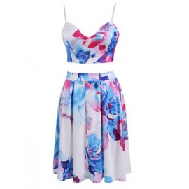 Charming Floral Spaghetti Crop Top and Pleat Skirt