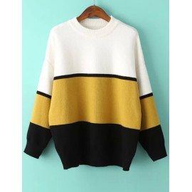 Fabulous Round Neck Loose Sweater in Color Block