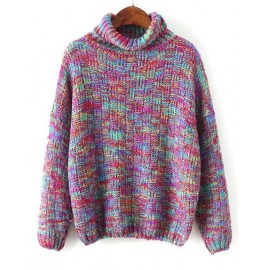 Charming Assorted Color Turtleneck Loose Sweater