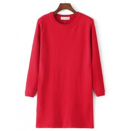 Basic Round Neck Pure Color Longline Sweater in Slim Fit