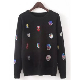 Lovely Cartoon Face Embroidery Sweater in Round Neck