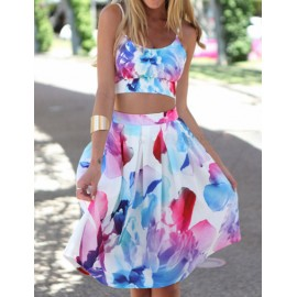 Floral Print Cropped Tank Top and Flare Skirt
