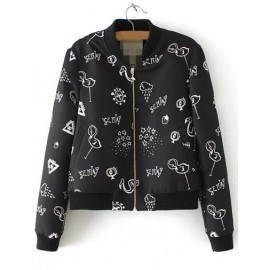 Cute Scrawl Printed Bomber Jacket with Zip Front Fastening Size:S-L
