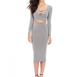 Hot Long Sleeve Lace Up V-Neck Top and Pencil Skirt