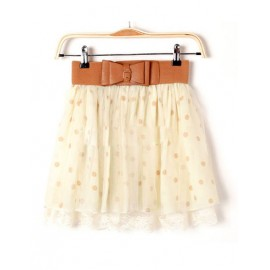 Glamorous Tiered Hem Bubble Skirt in Dot Printed For Women Size:S-L