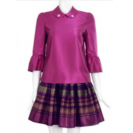 Refined Peter Pan Collar 3/4 Sleeve Top and Skirt For Women Size:S-XL